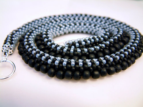 Bead Crochet Necklace, Carbon Shards