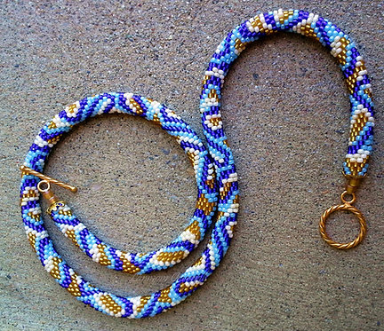 Bead Crochet Necklace, Sand and Surf