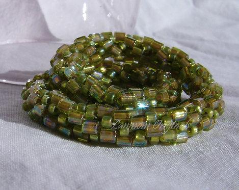 Bead Crochet Bracelet, Peridot Pleats