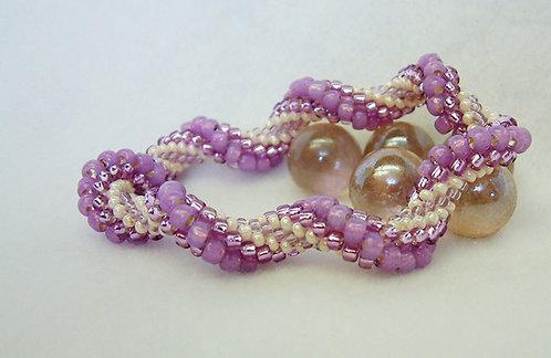Bead Crochet Bracelet, Amethyst Twist