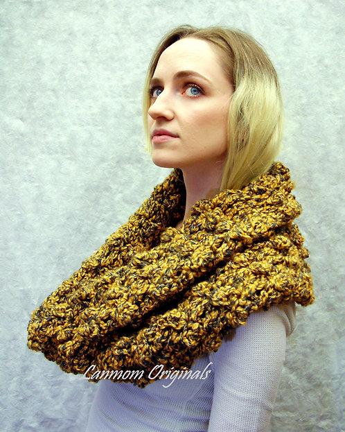 Chunky Cowl, Crochet Infinity Scarf, Textured Hood - Olivia
