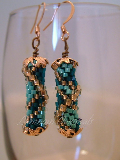Bead Crochet Earrings, Ocean Storm
