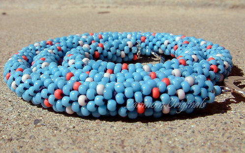 Southwestern Bead Crochet Necklace, Coral Reef
