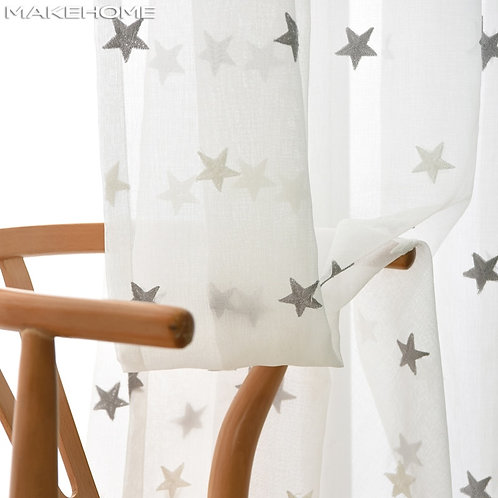 3D Stars Embroidered White Tulle Curtains Sheer Curtains