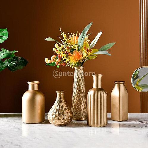 Nordic Glass Golden Flower Pot Statue Sculptures