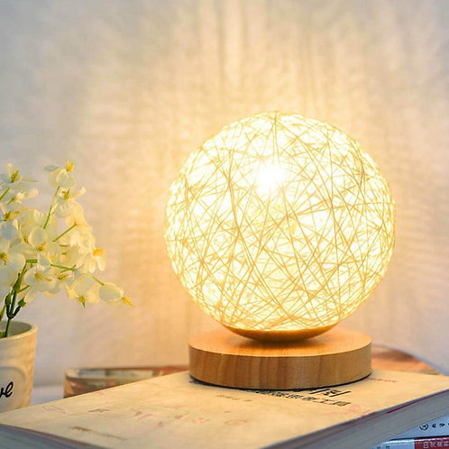 3W USB Moon Table Lamp Dimmable Hand-Knit Lampshade Wood