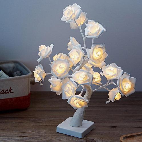 LED White Pink Rose Flower Table Lamp