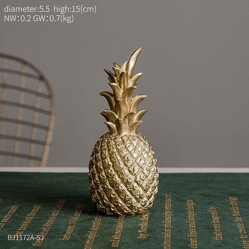 Modern Home Decor Golden & White Pineapple