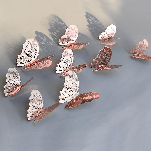12pcs/Set Rose Gold 3D Hollow Butterfly Wall Sticker for Home Decor