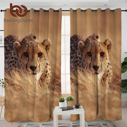 Leopard Curtains CheetahBlackout Curtain 3D Animal Tribal