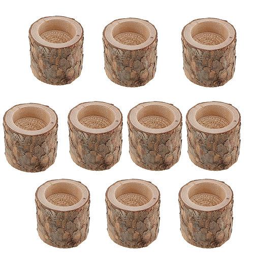 10x Wooden Tea Light Candle Holder