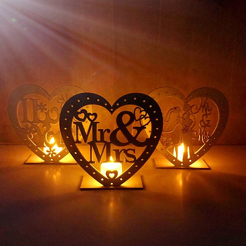 Wooden Wedding Candle Light Wedding Gifts Mr and Mrs I Love You