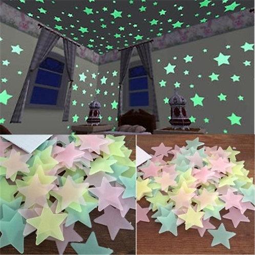 50pcs 3D Stars Glow in the Dark Wall Stickers Luminous Fluorescent Kids Baby Rm