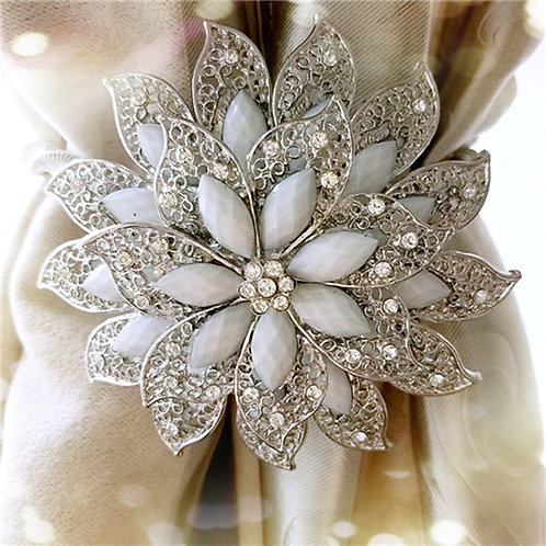 Flower Shaped Magnet Curtain Tieback Rings Spring Rhinestone Steel Wire Magnetic