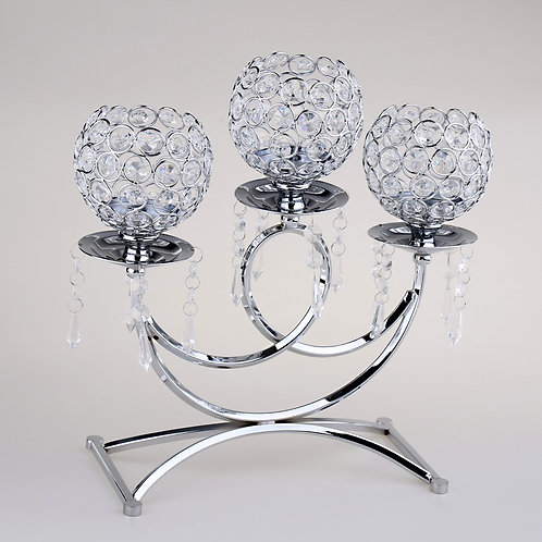 3 Heads Bling Decorative Crystal Candelabra