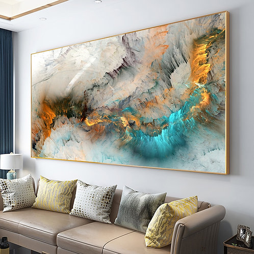 Light Gray Blue Yellow Cloud Abstract Canvas Painting Wall Art