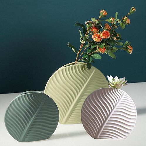 Ceramic Vase Leaves Artificial Flower Holder