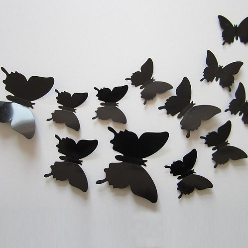 12pcs/Set New Arrive 3D Creative Black Butterfly Wall Stickers PVC