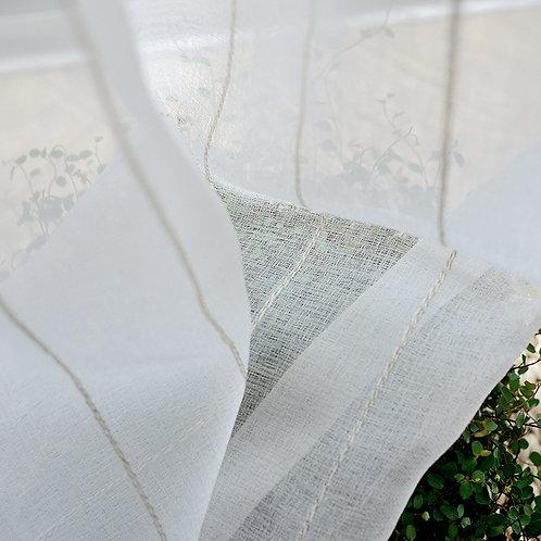 Modern White Stripe Cotton Linen Curtain Yarn Vertical Stripe Curtain