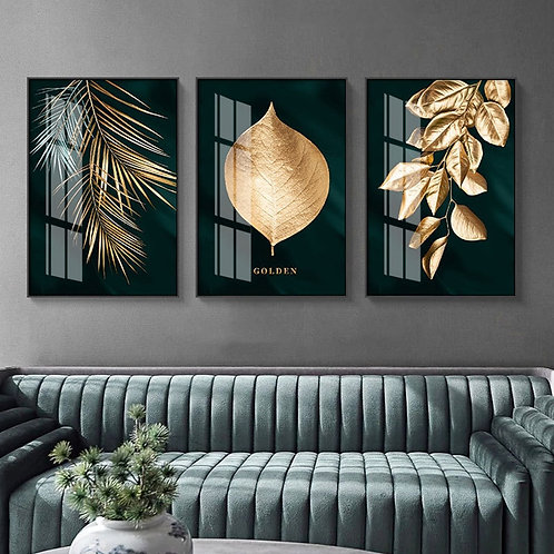 Abstract Golden Plant Leaves Wall Art