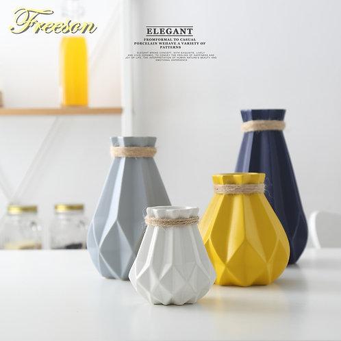 Europe Brief Matt Diamond Porcelain Vase Modern Fashion Ceramic Flower Vase
