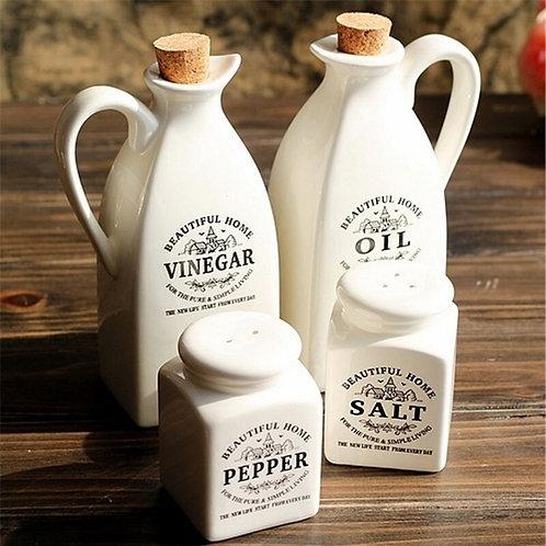 Pure White Ceramic Oil Bottle Seasoning Bottle Four-Piece Kitchen Gift