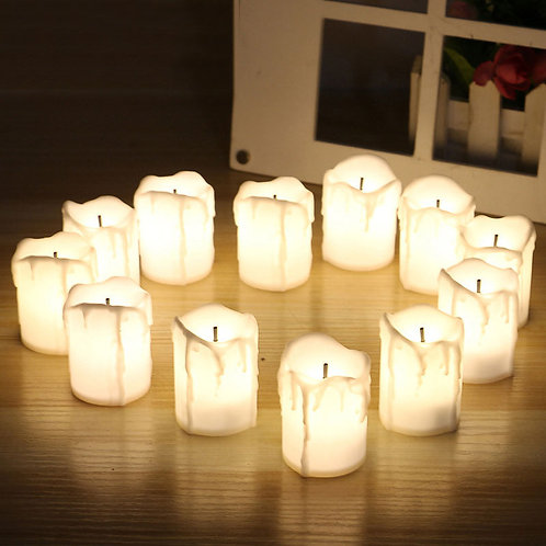 12 Pieces LED Electric Battery Powered Tealight Candles Warm White