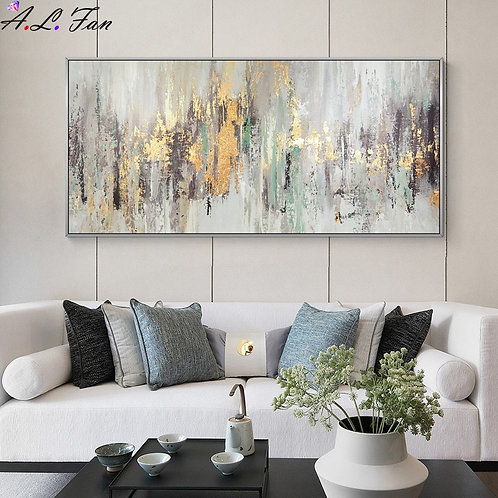 Large Wall Painting on Oil Painting Vertical Handmade Abstract Art