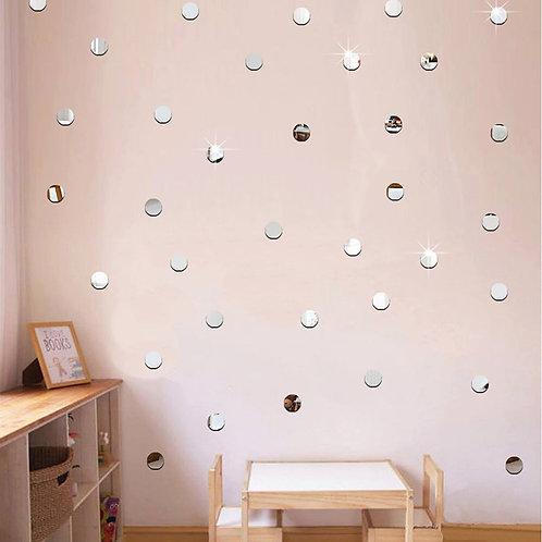 100pcs/Lot 2cm Mini 3D Acrylic Mirror Wall Stickers Heart/Round Shape Stickers