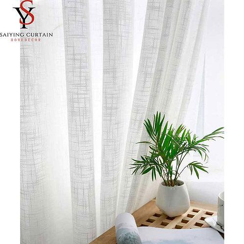 White Linen Tulle Window Curtain