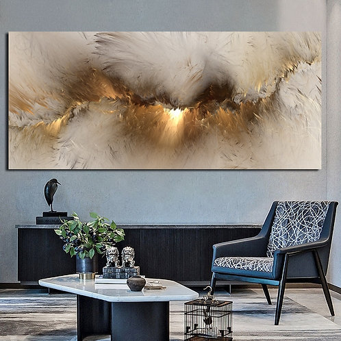 Grey Yellow Cloud Abstract Oil Painting