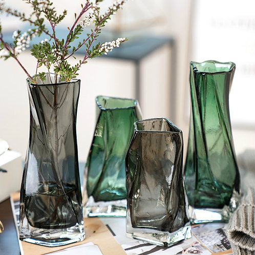 Personality Geometry Nordic Lead Free Glass Vase Home Office Desktop