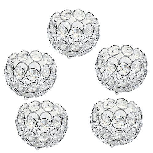 Set of 5 Crystal Display Bowl Tealight Candle Holder Globe Shape