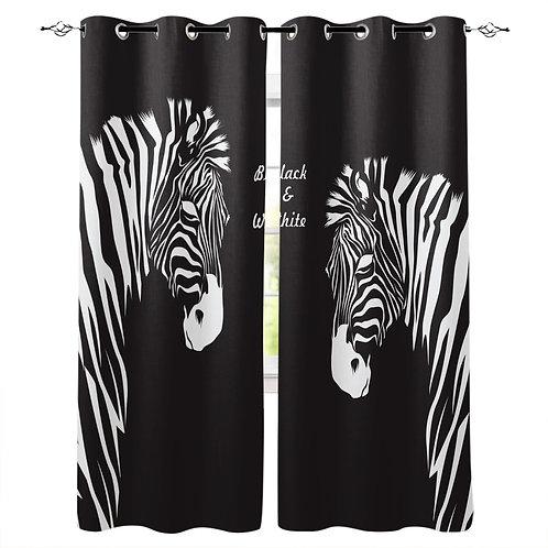 Zebra Black White Animal Curtains