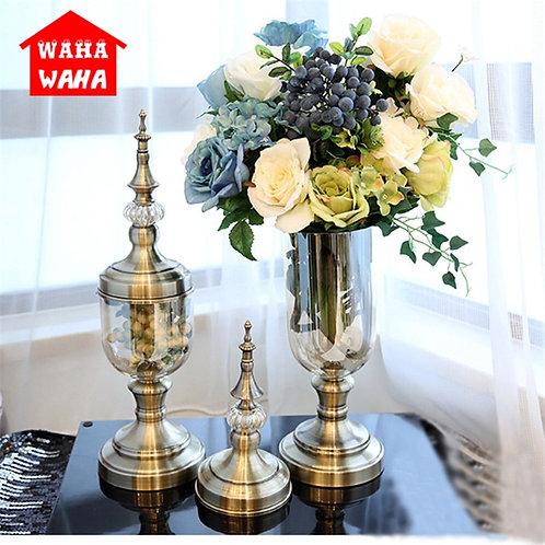 European Retro Glass Vase Metal Alloy Gold Vase Modern Table Creative Home Decor