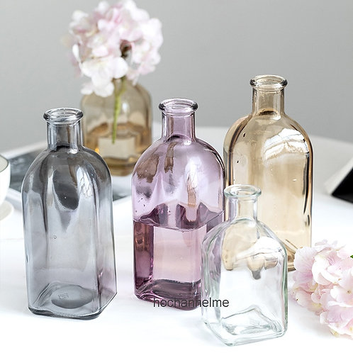 Colorful Glass Vase Transparent Simple Glass Bottle