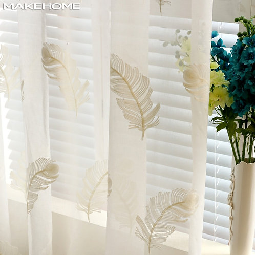 Embroidered Feather Curtains Pure Sheer Window Modern Curtains