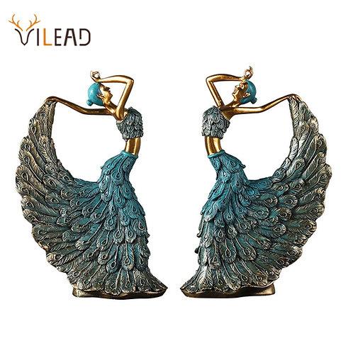 Dancer Figurines Peacock Abstract Art Ornament Statue Sculpture