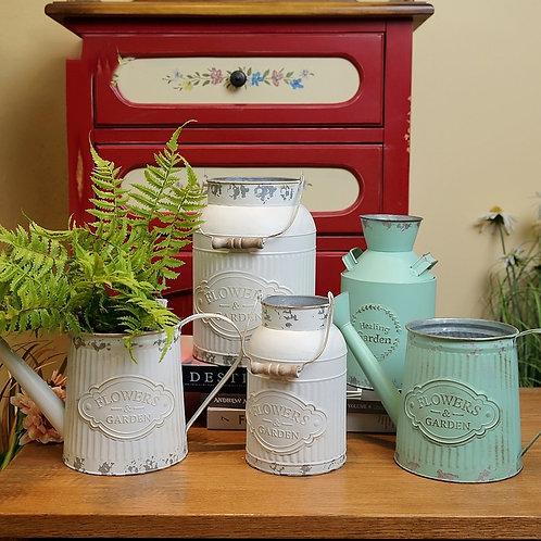 Flower Bucket Retro Iron Bucket Flower Pot Vase