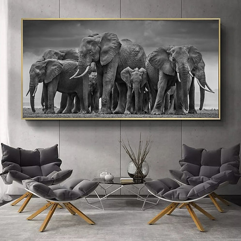 Wall Art Canvas Painting African Elephant Herd