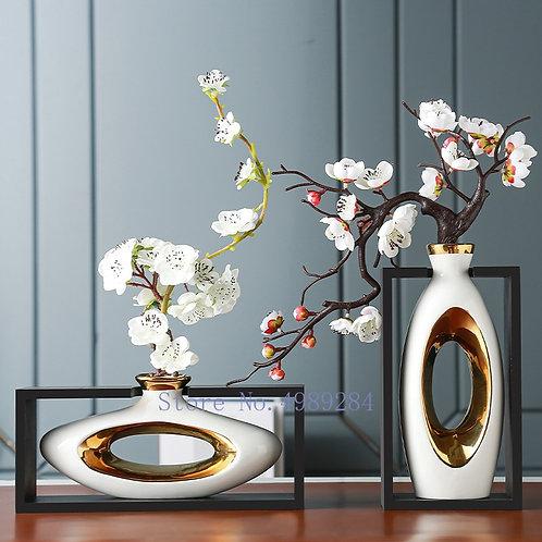 Chinese Style Ceramic Vase Wooden Frame Retro Openwork