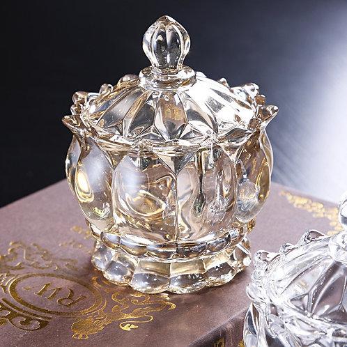 Luxury Crystal Glass Sugar Bowl Storage Jar Jewelry Candy Snack Jar