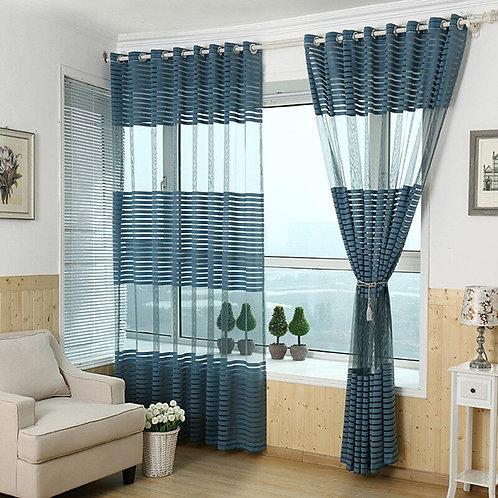 Modern Stripes Gauze Curtains Tulle  Luxury Transparent  Window