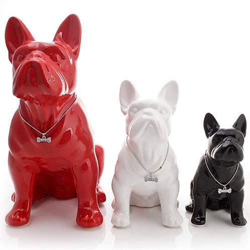 Ceramic French Bulldog Dog Statue Home Decoration Accessories
