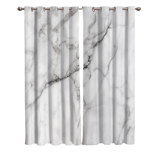 White Marble Window Curtains