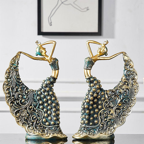 Beaded Dancer Figurines Peacock Abstract Art Ornament Statue