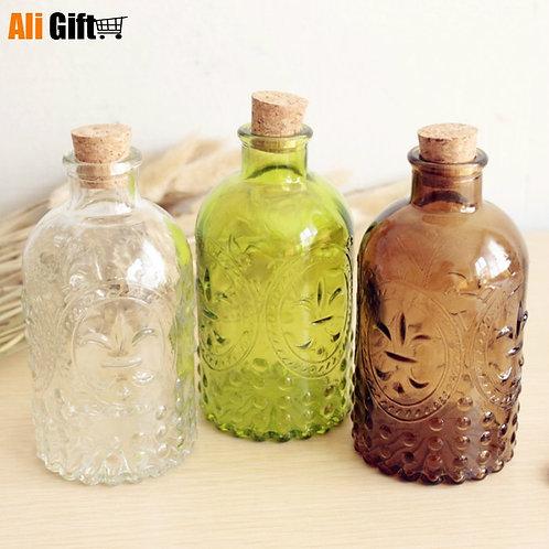 New 2021 Zakka Retro Vase Carved Cork Bottle Glass Bottle Tabletop