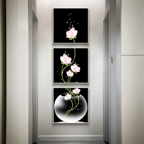 3 Panels Canvas Painting Flowers