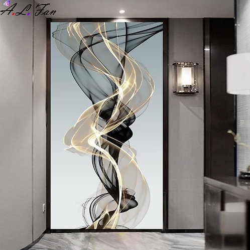 Luxury Abstract Ribbon Canvas Painting