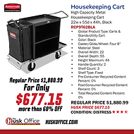 Rubbermaid Housekeeping Cart RCP9T62BLA